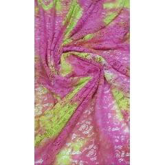 Renda Italiana Tie Dye Pink com Amarelo Cítrico