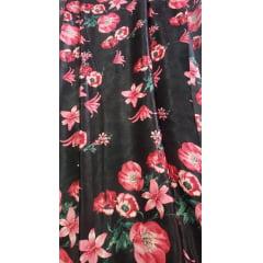 Seda Estampada Fundo Preto Flores Pink
