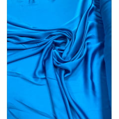 Seda Lisa Satin Gloss Azul Turquesa
