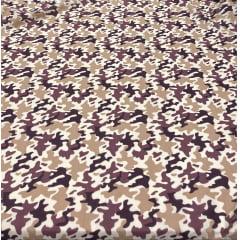 Tricoline Estampada Camuflado com Marrom 100% Algodão