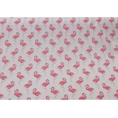 Tricoline Estampada Flamingos Fundo Rosa Claro 100% Algodão