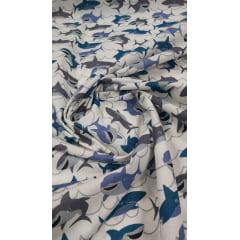 Tricoline Estampada Tubarão Fundo Branco 100% Algodão