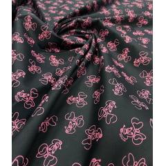 Tricoline Estampada Coleção Disney Minnie In Pink 100% Algodão