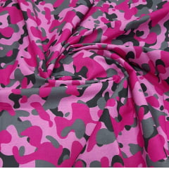 Tricoline Estampada Camuflado com Rosa 100% Algodão
