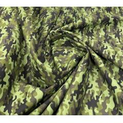 Tricoline Estampada Camuflado Verde Floresta 100% Algodão