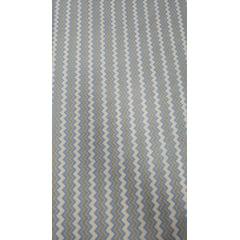 Tricoline Estampada Chevron Azul Claro, Branco e Cinza 100% Algodão