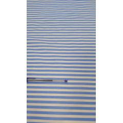 Tricoline Estampada Listrada Maior Azul Claro com Branco 100% Algodão