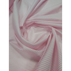 Tricoline Estampada Listrada Menor Rosa com Branco 100% Algodão