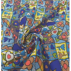 Tricoline Estampada Romero Britto Azul 100% Algodão