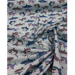 Tricoline Estampada Tubarão Fundo Azul Claro 100% Algodão