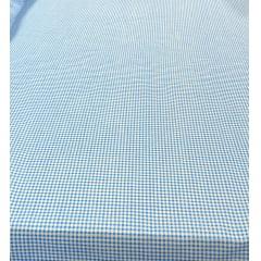 Tricoline Estampada Xadrez Menor Azul Turquesa com Branco 100% Algodão