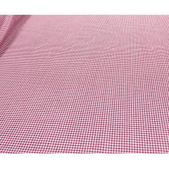 Tricoline Estampada Xadrez Menor Pink com Branco 100% Algodão