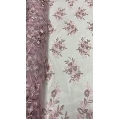 Tule Bordado Bicolor Rosa Bebê com Rosê
