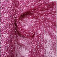 Tule Bordado Bicolor Tons de Rosa com Bico nos 2 Lados