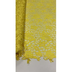Tule Bordado com Bico Premium Amarelo Ouro