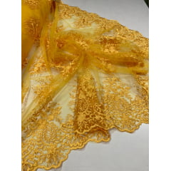 Tule Bordado com Bico Amarelo Ouro 18