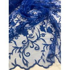 Tule Bordado com Bico Azul Royal