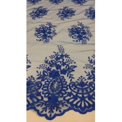 Tule Bordado com Bico Azul Royal 18