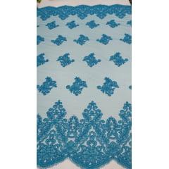 Tule Bordado com Bico Azul Turquesa