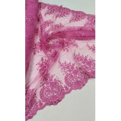 Tule Bordado com Bico Pink 16
