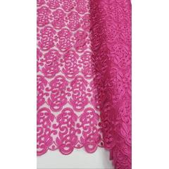 Tule Bordado com Bico Premium Rosa Pink