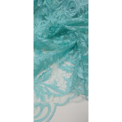 Tule Bordado Arabescos Verde Tiffany com Paetê Caminho sem Fim