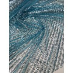 Tule com Glitter Listrado Diagonal Azul Piscina