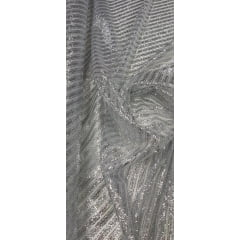 Tule com Glitter Listrado Diagonal Prata