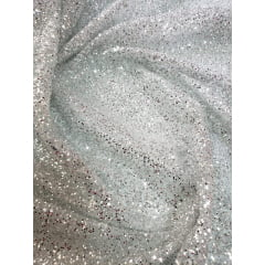 Tule com Glitter Prata Pesado