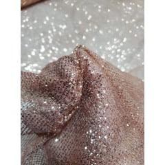 Tule com Glitter Rosê Gold Leve