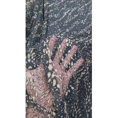 Tule Preto com Glitter Dourado Tipo Animal Print