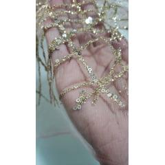 Tule Rosê com Glitter e Paetê Dourado - Comprimento 1,5m x Largura 1,40m