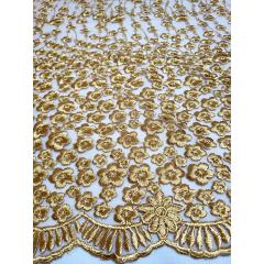 Tule Bordado Flores Dourado Premium
