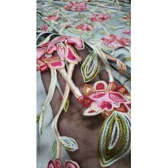 Tule Bordado Primavera Fundo Preto Flores Rosa com Pink