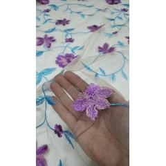 Tule Iluzione Bordado Primavera Fundo Nude Flores Lilás
