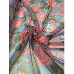 Tule de Malha Estampado Rosas Fundo Azul com Fio Metálico