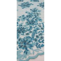 Tule Bordado Azul Piscina com Pedrarias