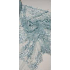 Tule Bordado Ramos Azul Piscina com Pedrarias