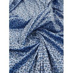 Veludo Velboa Bicho Onça Azul
