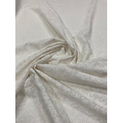 Popeline de Viscose Estampada Arabescos Branco Fundo Off White