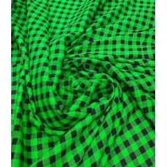 Popeline de Viscose Estampada Xadrez Menor Verde com Preto