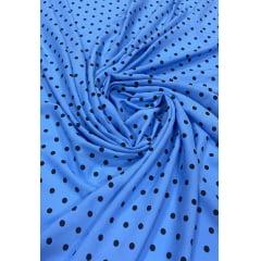 Popeline de Viscose Fundo Azul Serenity Poá Bola Pequena Preto