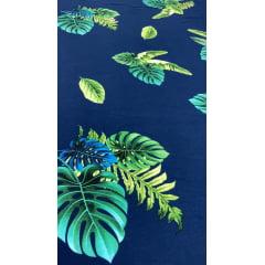 Popeline de Viscose Premium Fundo Azul Marinho Costela de Adão