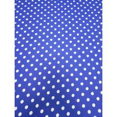Popeline de Viscose Premium Fundo Azul Royal Poá Bola Pequena Branco