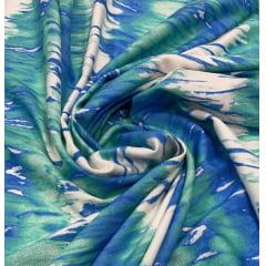 Popeline de Viscose Sarjada Tie Dye Verde Com azul