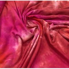 Popeline de Viscose Tie Dye Laranja com Rosa