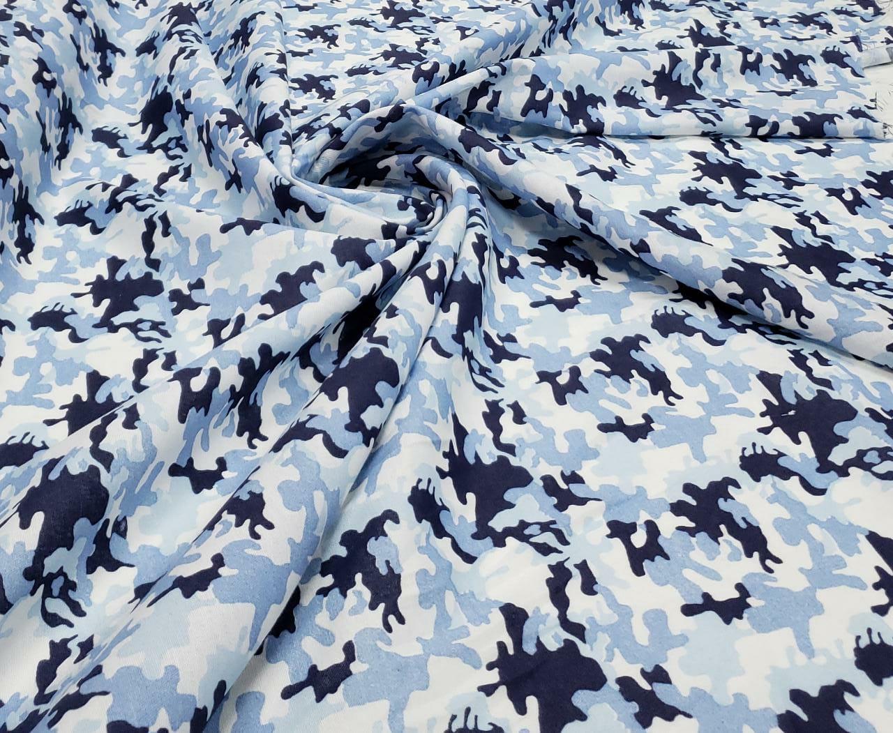 Tricoline Estampada Fio 30 Camuflado Tons de Azul
