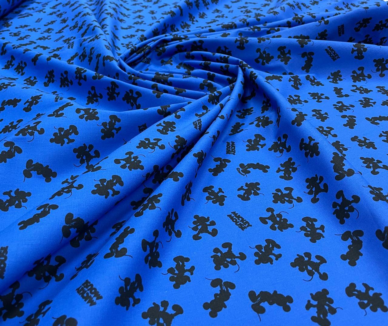 Tricoline Estampada Coleção Disney Mickey Silhueta Fundo Azul 100% Algodão