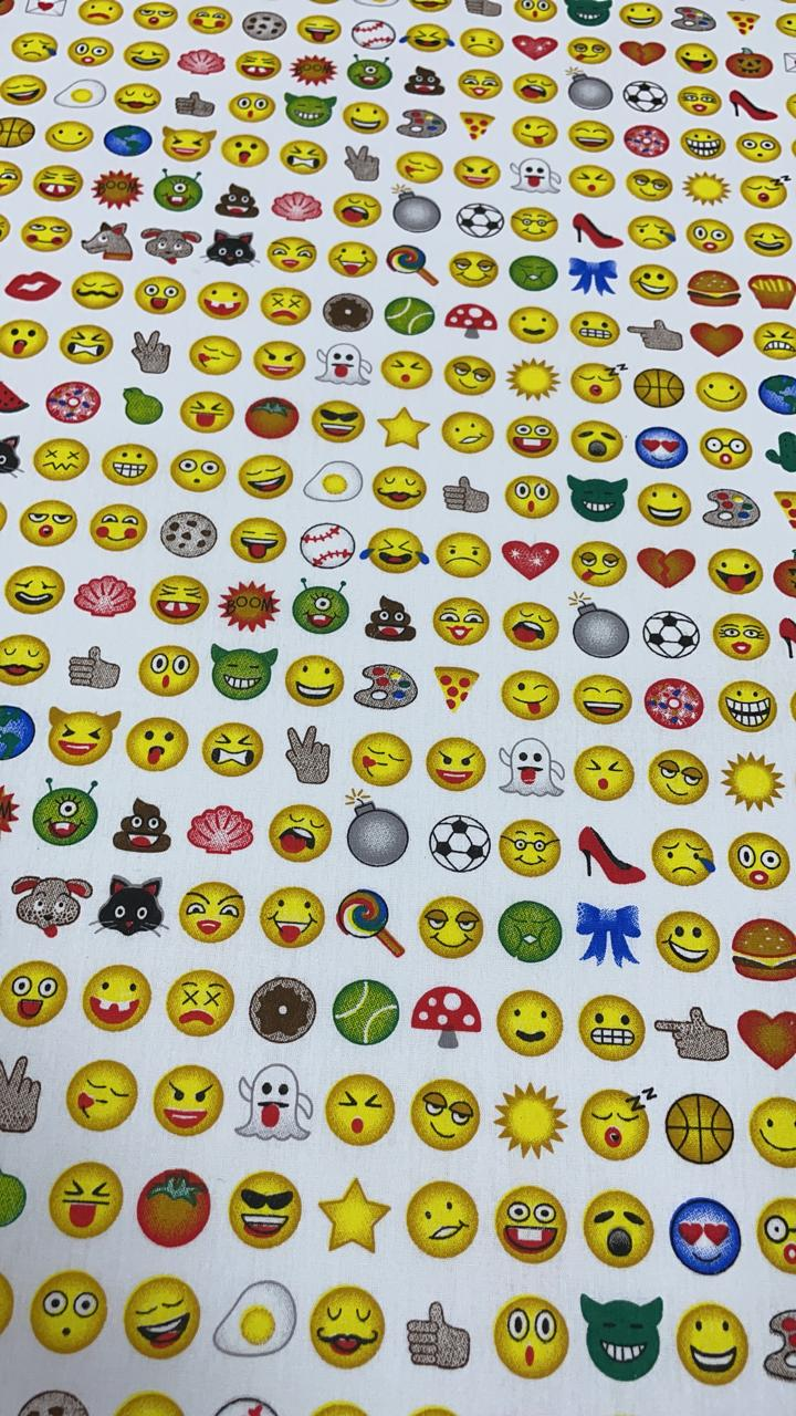 Tricoline Estampada Mini Emojis Fundo Branco 100% Algodão