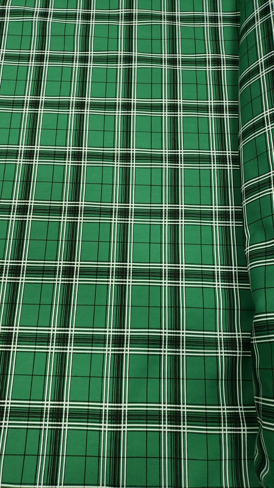 Tricoline Estampada Natalina Xadrez Fundo Verde 100% Algodão